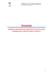 MEDIDAS URGENTES DE EMPLEO EN GALICIA PARA MINIMIZAR EL IMPACTO DEL COVID – 19