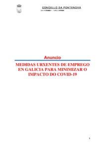 MEDIDAS URXENTES DE EMPREGO EN GALICIA PARA MINIMIZAR O IMPACTO DO COVID-19