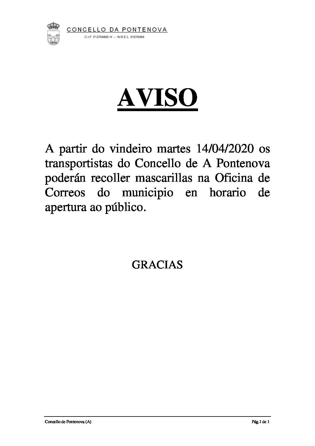 AVISO DE ENTREGA DE MASCARILLAS A TRANSPORTISTAS