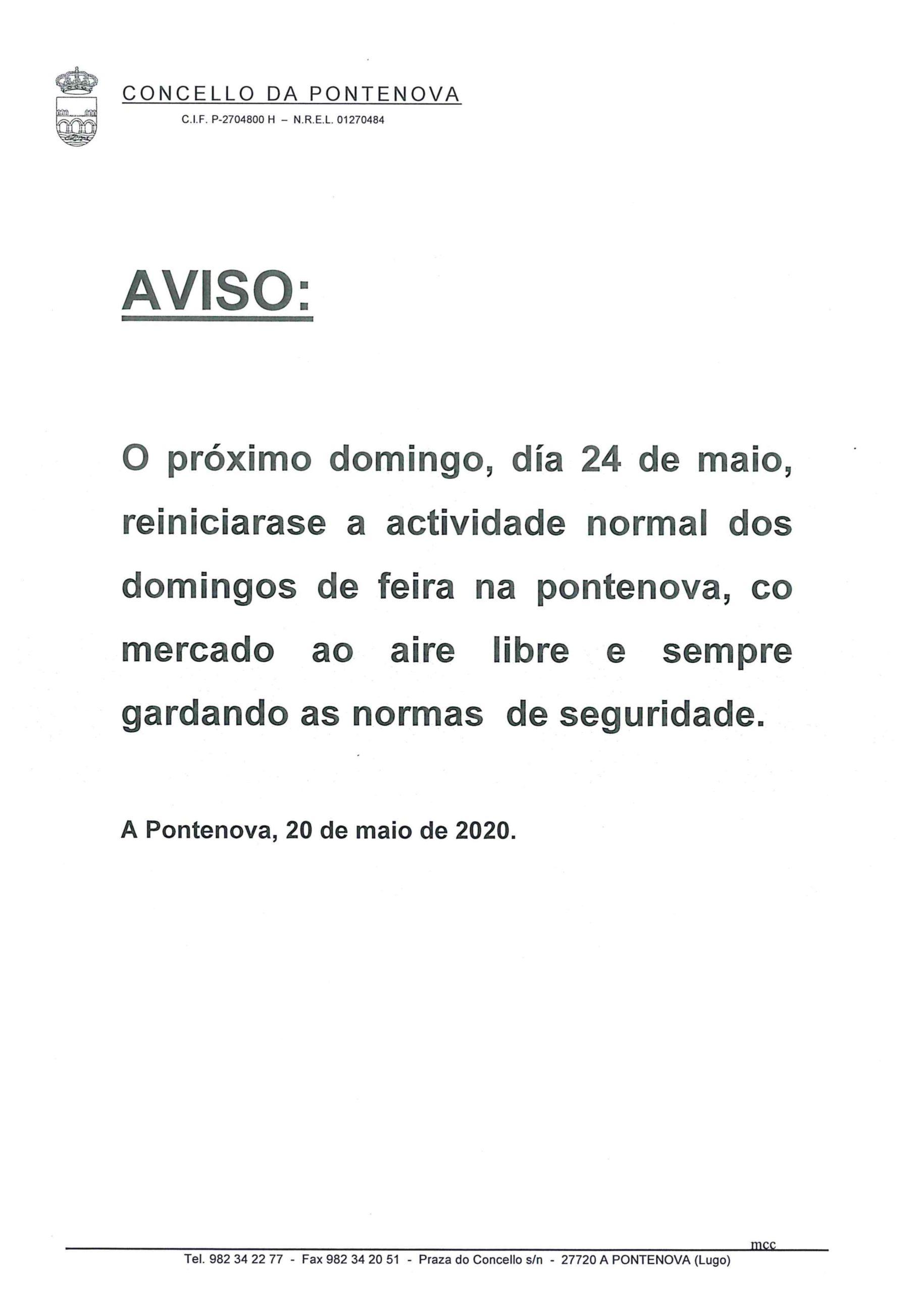 REINICIO DA ACTIVIDADE NORMAL OS DOMINGOS DE FEIRA