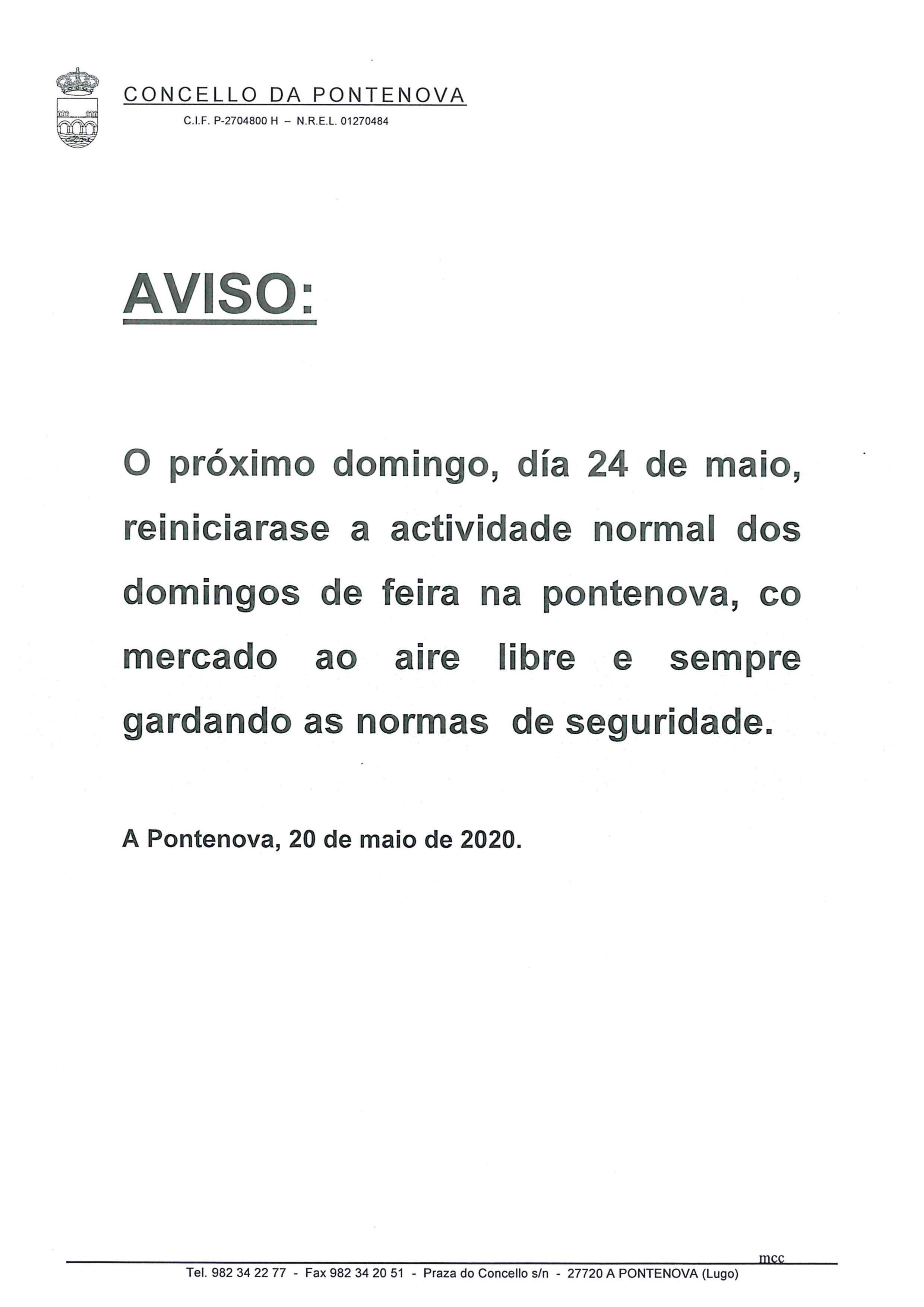 REINICIO DE LA ACTIVIDAD NORMAL DE LOS DOMINGOS DE MERCADO