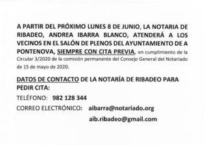 REANUDACIÓN DEL SERVICIO DE NOTARÍA EN EL AYUNTAMIENTO – OBLIGATORIA CITA PREVIA EN EL TELÉFONO 982 12 83 44