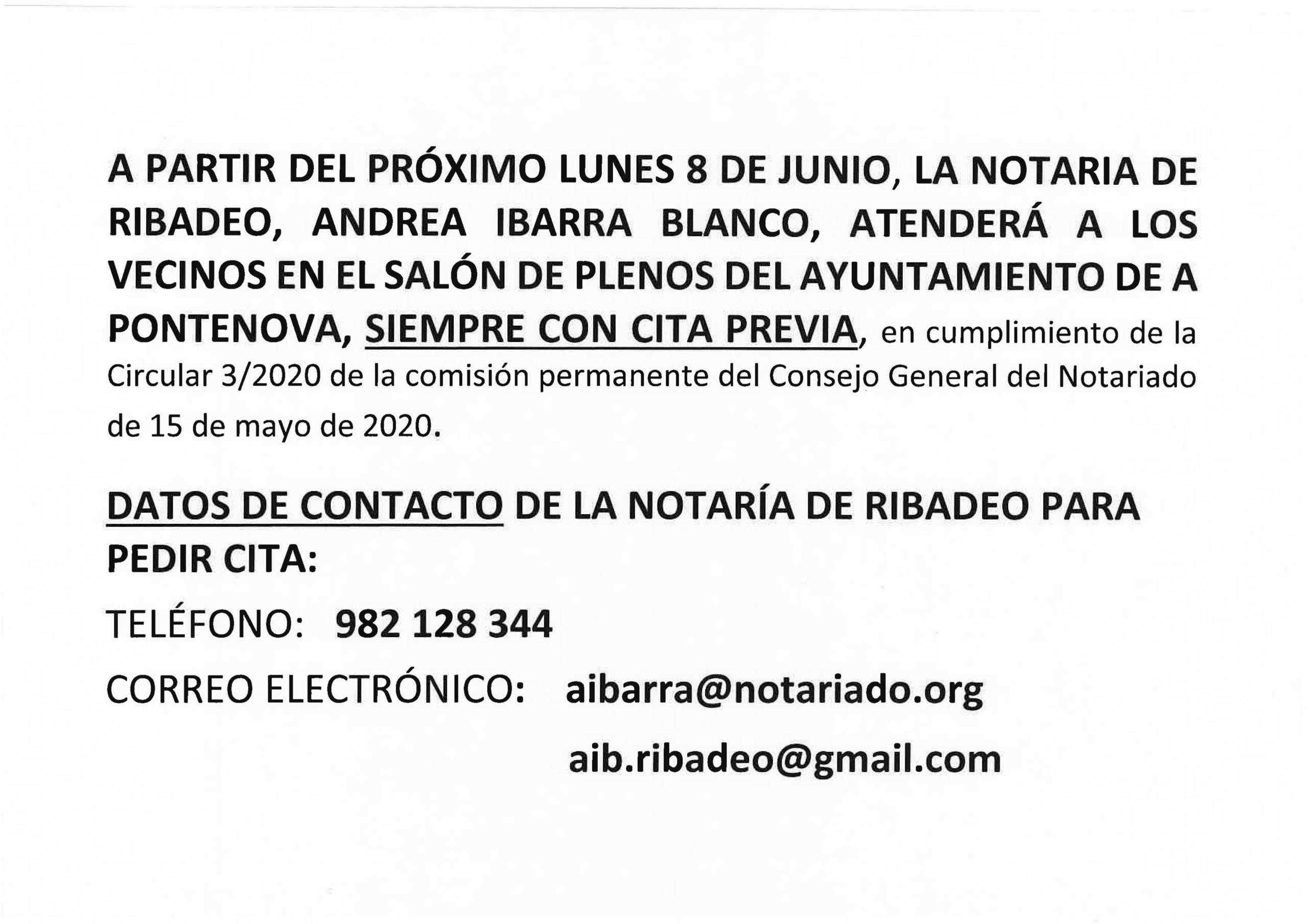 REANUDACIÓN DO SERVIZO DE NOTARÍA NO CONCELLO – OBRIGATORIA CITA PREVIA NO TELÉFONO 982 12 83 44