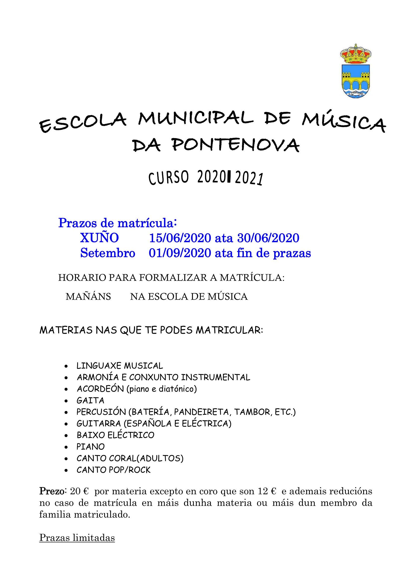 APERTURA MATRICULA ESCOLA DE MÚSICA CURSO 2020 – 2021