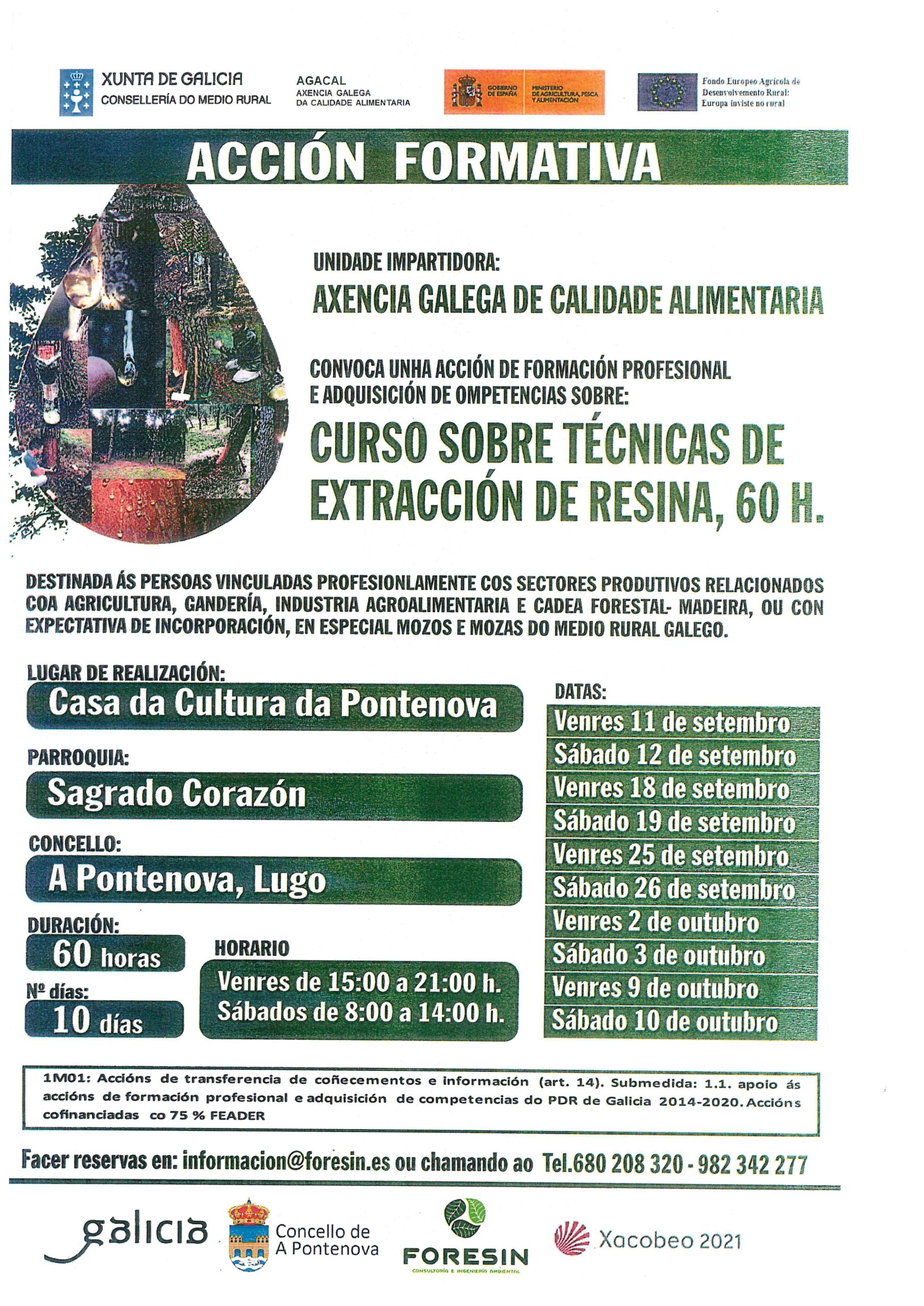 ACCIÓN FORMATIVA – CURSO SOBRE TÉCNICAS DE EXTRACIÓN DE RESINA (60 HORAS)