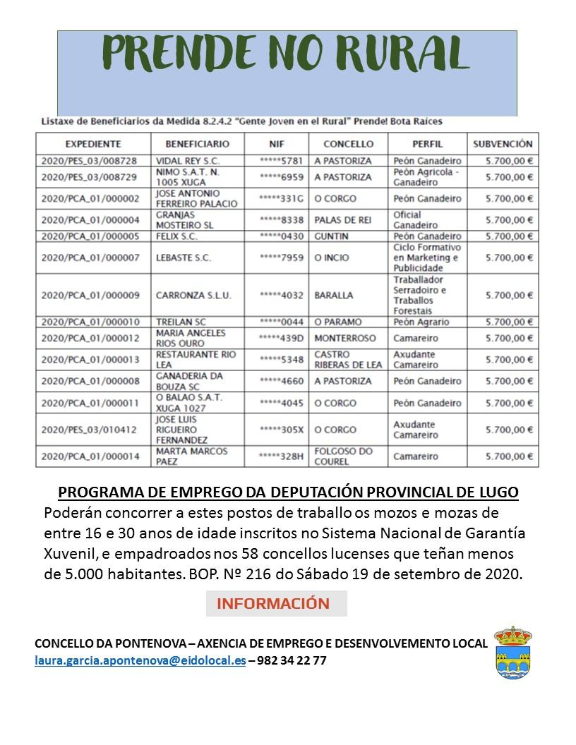 PROGRAMA PRENDE NO RURAL – PROGRAMA DE EMPREGO DA DEPUTACIÓN PROVINCIAL DE LUGO
