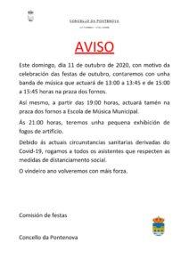AVISO ACTUACIÓNS DOMINGO 11 DE OUTUBRO DE 2020