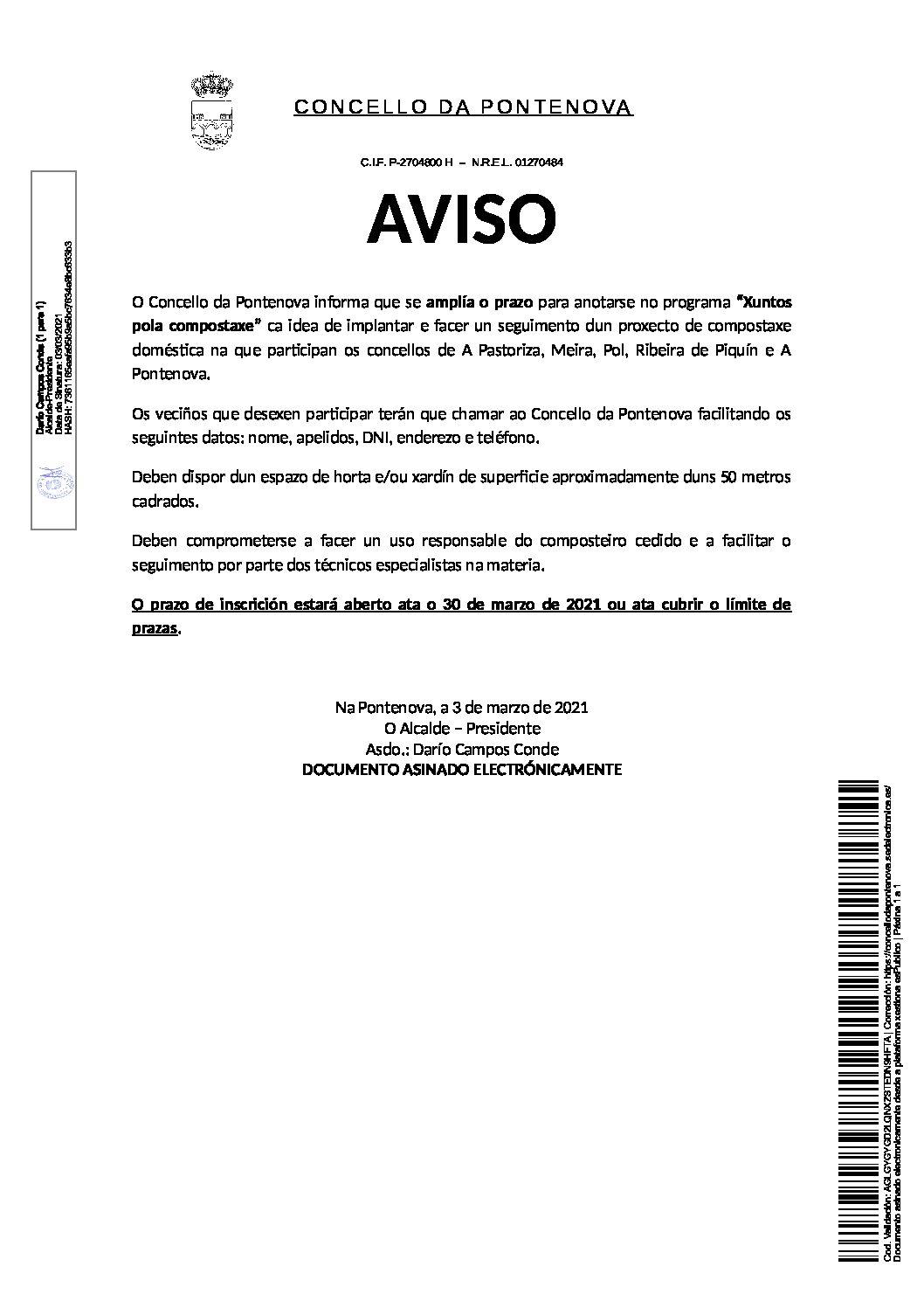 AVISO AMPLIACIÓN PLAZO ANOTACIÓN PROGRAMA «XUNTOS POLA COMPOSTAXE»