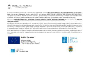 MELLORAS DO PROCESO E MELLORAS NA EFICIENCIA ENERGÉTICA DA EDAR NÚCLEO DA PONTENOVA